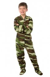 Big Feet Pajamas Kids Green Camouflage Fleece One Piece Footy