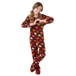"Kids Big Feet Pajamas Chocolate Brown ""Hearts"" Fleece One Piece Footy"