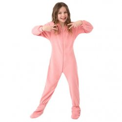 Kids Big Feet Pajamas Pink Fleece One Piece Footy