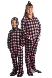 Big Feet Pajamas Kids Pink & Black Buffalo Plaid Fleece Hooded One Piece Footy