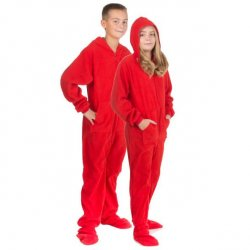 Big Feet Pajamas Kids Red Fleece Hooded One Piece Footy
