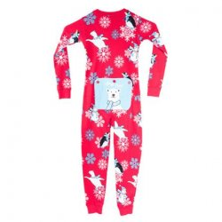 Kids Big Feet Pajamas Stay Cool Union Suit in Red