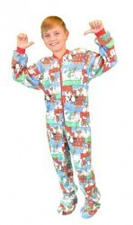 "Kids Big Feet Pajamas ""Christmas"" Fleece One Piece Footy"