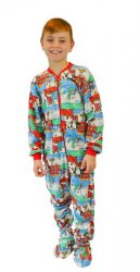 Kids Big Feet Pajamas Christmas Fleece One Piece Footy