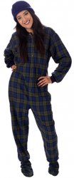 Big Feet Pajamas Adult Navy Plaid Flannel One Piece Footy
