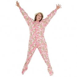 Big Feet Pajamas Adult Pink Camouflage Fleece One Piece Footy