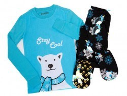 "Kids Big Feet Pajamas ""Stay Cool"" 2 Piece Cotton Footy in Blue"