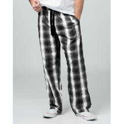 Boxercraft Men's Loungelite Black and White Plaid Poplin Pajama Pant