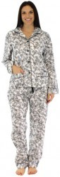 "bSoft Women's ""Black Bird Toile"" Bamboo Flannel Pajama Set"