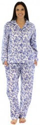 "bSoft Women's ""Blue Bird Toile"" Bamboo Flannel Pajama Set"