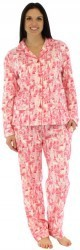 "bSoft Women's ""Parisian Toile"" Bamboo Flannel Pajama Set in Pink"
