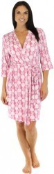 bSoft Women's Bamboo Jersey Wrap Robe in Pink Pineapple