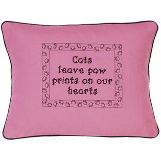 """Cats Leave Paw Prints..."" Pink  Embroidered Gift Pillow"