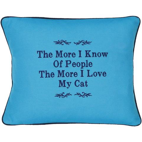 """The More I Know Of People..."" Blue Embroidered Gift Pillow"
