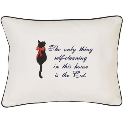 """The Only Thing Self-Cleaning ...."" Ivory Embroidered Gift Pillow"