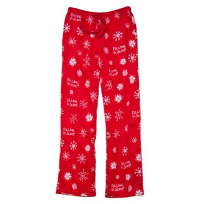 Little Blue House by Hatley Falling to Sleep Snowflakes Women's Flannel Pajama Pant in Red