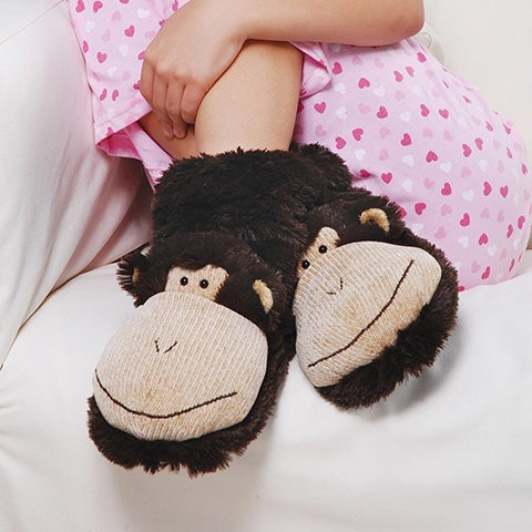 "Fun For Feet ""Monkey"" Fuzzy Slipper Socks from Aroma Home"