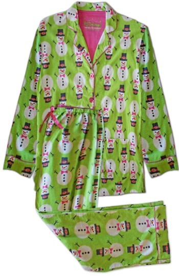"PJ Salvage ""Lime Snowmen"" Women's Flannel Pajama Set"