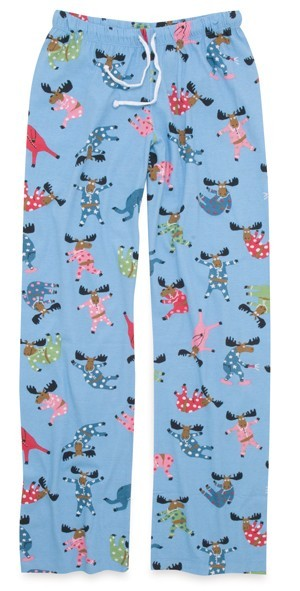 "Hatley Nature ""Pajama Moose"" Women's Cotton Knit Pant in Blue"