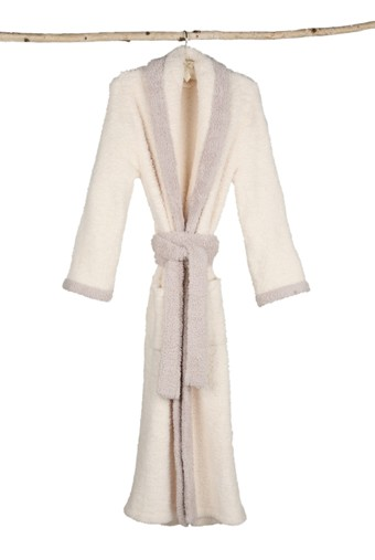 Barefoot Dreams® CozyChic® Contrast Trim Robe in Cream and Stone