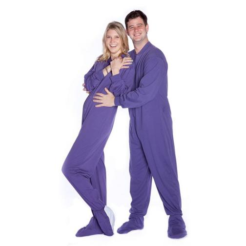 Big Feet Pajamas Adult Purple Jersey Knit One Piece Footy