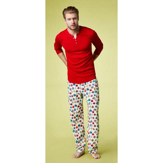 "Bedhead Men's ""Hanging Ornaments"" Stretch Henley Pajama Set"