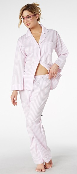 "Bedhead Women's ""Pink 3D"" Striped Cotton Sateen Pajama Set"