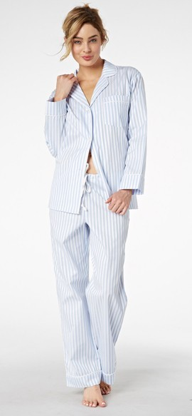 "Bedhead Women's ""Blue 3D"" Stripe Cotton Sateen Pajama Set"
