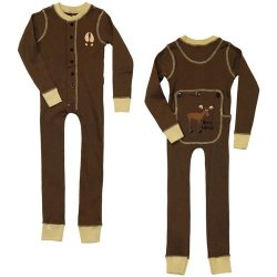 "Lazy One Kids Unisex Chocolate Brown ""Moose Caboose"" FlapJack"