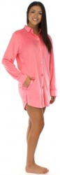 Frankie & Johnny Solid Pink Fleece Boyfriend Style Sleepshirt