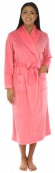 Frankie & Johnny Solid Pink Fleece Long Robe