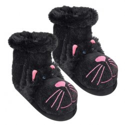 "Fun For Feet ""Black Cat"" Fuzzy Slipper Socks from Aroma Home"