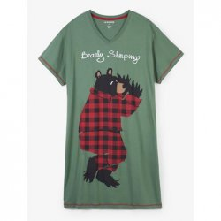 Little Blue House by Hatley Bearly Sleeping Women's Nightshirt in Green