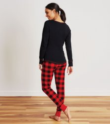 Little Blue House by Hatley Women's Buffalo Plaid Sleep Leggings in Red