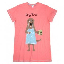 Little Blue House by Hatley Dog Tired Women's Nightshirt in Pink