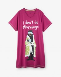 Little Blue House by Hatley I Don't Do Mornings Women's Sleepshirt in Raspberry