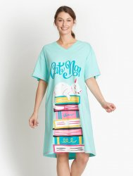 Little Blue House by Hatley Kitty Cat Book Club Sleepshirt in Aqua