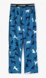 Hatley Nature Men's Blue Labs Jersey Pajama Pants on Ticking