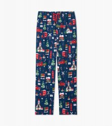Little Blue House by Hatley Men's Christmas Village Flannel Pajama Pant in Navy