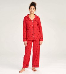 Little Blue House by Hatley Women's Moose on Red Cotton Jersey Classic Pajama Set