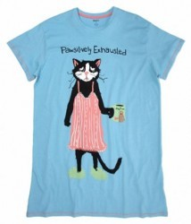 "Hatley Nature Women's ""Pawsitively Exhausted"" Nightshirt in Blue"