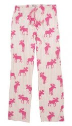 Little Blue House by Hatley Women's Striped Moose Flannel Pajama Pant in Pink