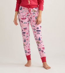 Little Blue House by Hatley Women's Ski Holiday Sleep Leggings in Pink