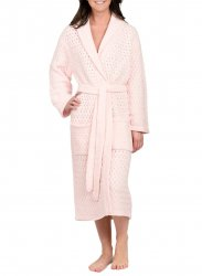 Kashwére Basket Weave Shawl Robe in Pink
