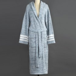 Kashwére Silver Blue/Creme Hooded Heather Robe