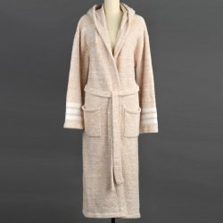 Kashwére Camel/Creme Hooded Heather Robe