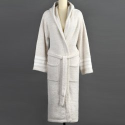 Kashwére Malt/Creme Hooded Heather Robe