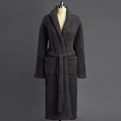 Kashwére Signature Shawl Collared Robe in Slate