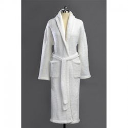 Kashwére Signature Shawl Collared Robe in Perfect White