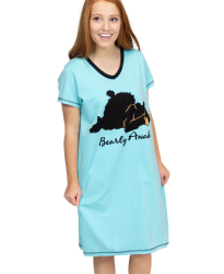 Lazy One Bearly Awake V-Neck Nightshirt in Aqua